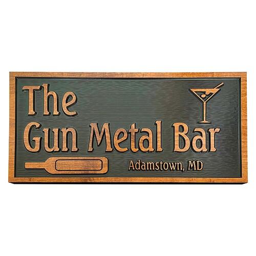 Gun Metal Bar Sign