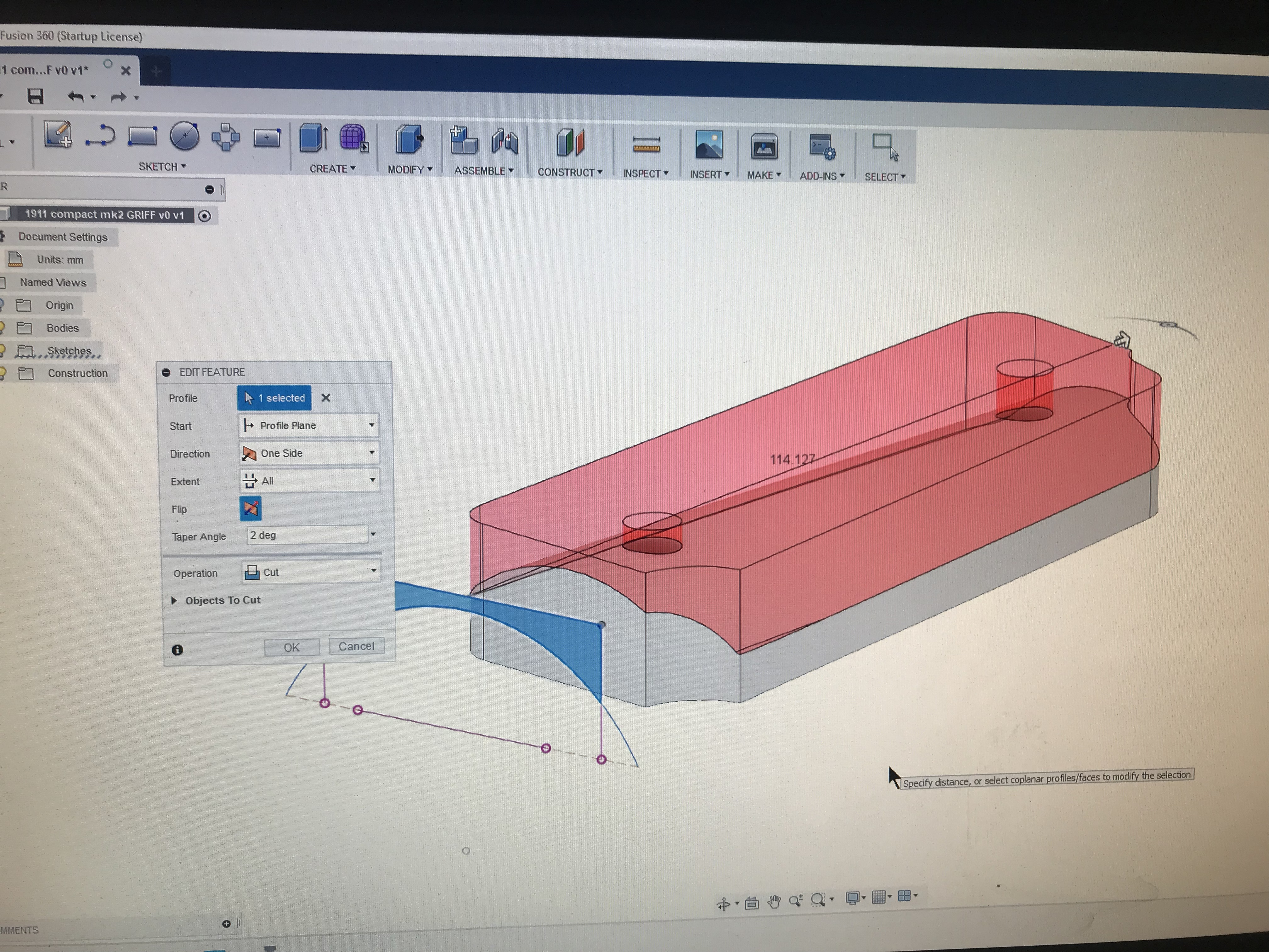 Help with Fusion design, 1911 grip - Unsupported - Carbide 3D